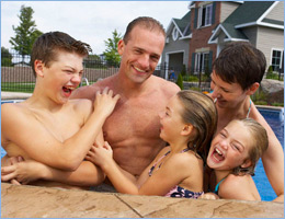 Inground Pool Kids Dad